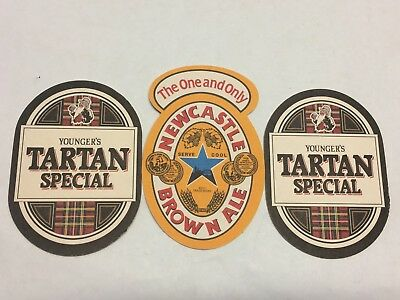Pair of Younger's Tartan Special UK Coaster Beer Mat & One Newcastle Brown Ale
