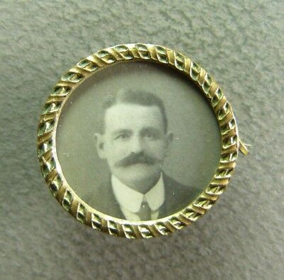 French Antique Photo Brooch Art Nouveau Man Gilt Brass & Mother of pearl ca1900