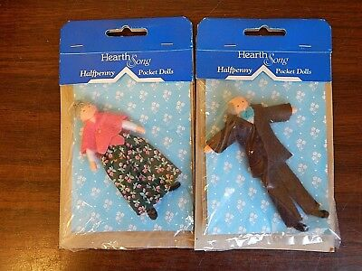 "Lot of 2 Vintage Miniature 4"" Hearth Song HALFPENNY POCKET DOLLS 1/16 Scale NRFP"