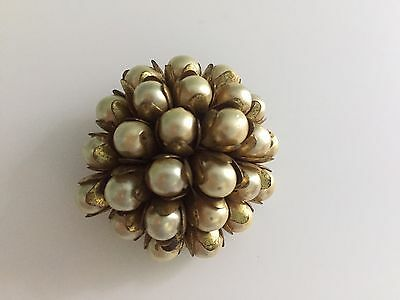Rare Old Czechoslovakia Pearls Cluster Pin Set In Brass Antique Vintage