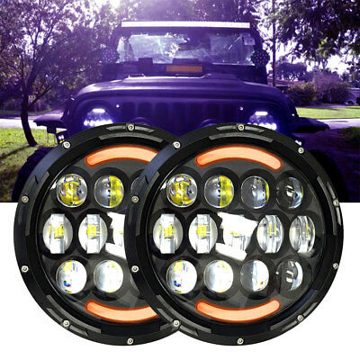 7'' Round LED Headlights Hi/Lo Beam For Suzuki Samurai Ford Bronco 1969-78 agce2