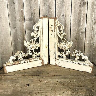 Antique Wood Corbels Brackets Architectural Salvage CARVED ROSES Ornate Pair