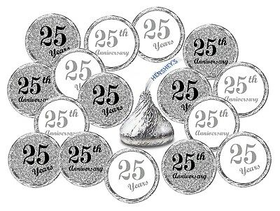 25th Wedding Anniversary Kisses Stickers, (Set of 216) Party Favors Decor