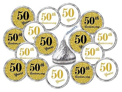 50th Wedding Anniversary Kisses Stickers, (Set of 216) Party Favors Decor decals