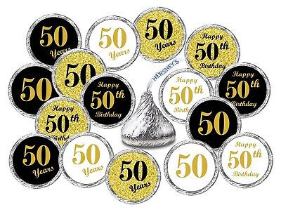 50th Birthday Kisses Labels Stickers Party Favors Decals (Set of 324)