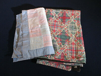 Patchwork Quilts Vintage Pastel Squares Fenboch Smaller Crib Doll Size Lot of 2