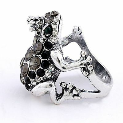 Black Rhinestone Frog Antique Silver Plated Alloy Ring Animal Rings Frog Rings