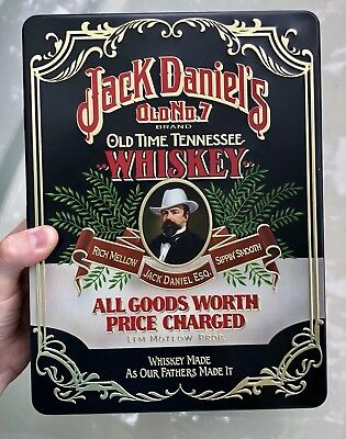 Vintage Jack Daniels Old Time Tennessee No 7 Whisky Tin W/ Glasses Sign Bar MINT