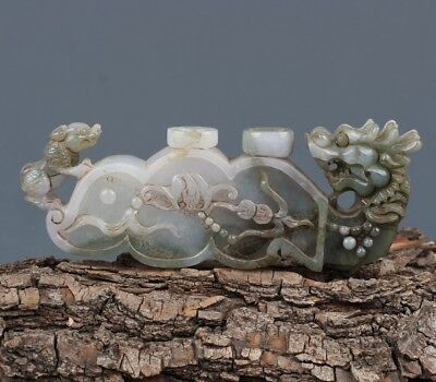 Chinese Exquisite Hand-carved Ancient Dragon Carving jadeite jade statue