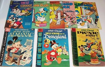 LOT of NINE Disneys! Dell Giants! Uncle Scrooge, Donald Duck, Mickey Mouse +MORE