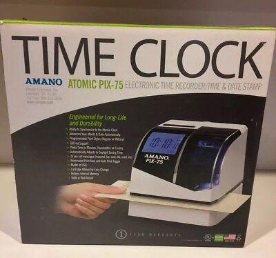 Amano PIX-75 Electronic Atomic Time Clock Recorder- New, Opened Box - SHIPS FAST