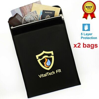 Fireproof bags 2000°F Document safe storage Fireproof Water Resistant 15x11