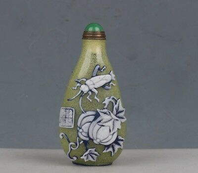 Chinese Exquisite Handmade vegetables insect pattern Glass snuff bottle