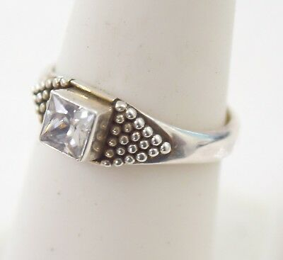 Vintage  Sterling Silver  White Gem Cocktail Ring sz 8 3.1 g