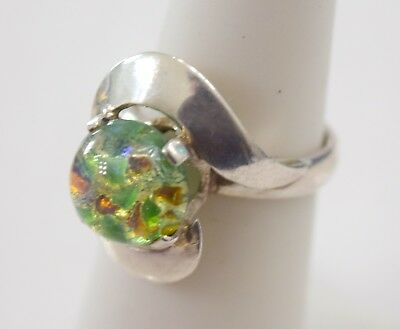 Vintage Sterling Silver Dichroic Glass Cocktail Ring sz 6 (5.3 g ) Mexico