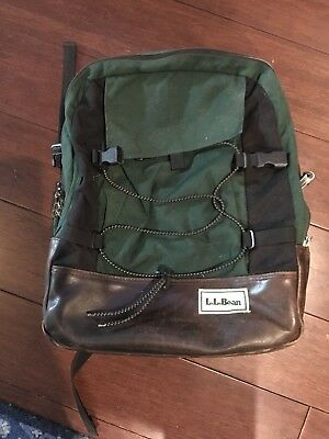LL BEAN Vintage Backpack Rucksack, Green with Leather Bottom, Laptop Sleeve, EUC