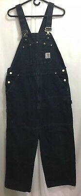 Carhartt Unlined Black Duck Bib Overalls Men's 40 x 30 Work Pants Jeans