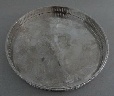 Vintage Sheffield of England Silver Plate on Copper Round Gallery Tray