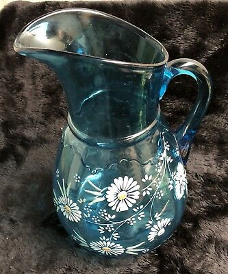 Late 19th/Early 20th Cent. Mold Blown Enameled Blue Glass Pitcher