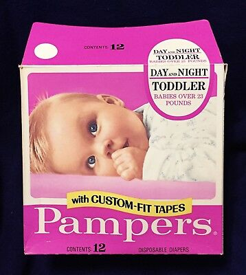 Vintage 1978 Pampers Day Night Toddler Diapers Over 23 lbs XL Opened Box