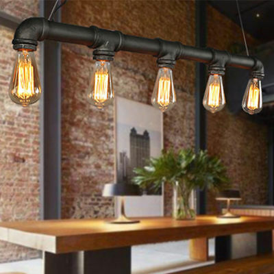 Vintage Water Pipe Industrial Hanging Decor Ceiling Retro Lamp Pendant Light USA