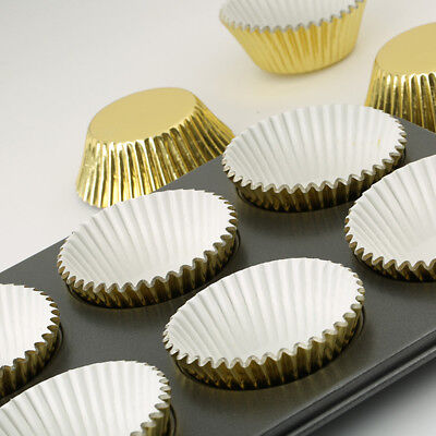 100X Mini Aluminum Foil Paper Cake Cupcake Liners Baking Muffin Cup Cases Party