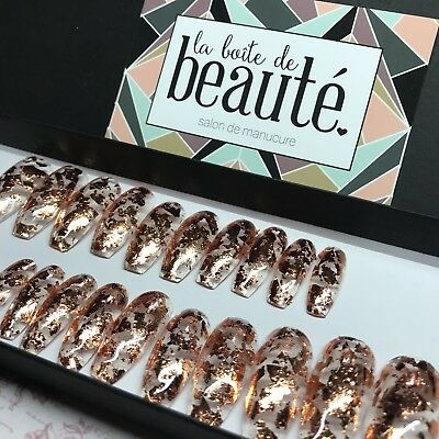 20 Hand Painted clear Rose Gold leaf Press On Fake False Faux glue Stick On Nail