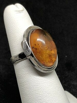 Solid Sterling Silver Natural Butterscotch Baltic Amber Ring Size 5 1/4