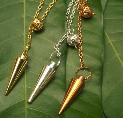 Set of 3 gold, silver, copper plated cone healing dowsing metal pendulums