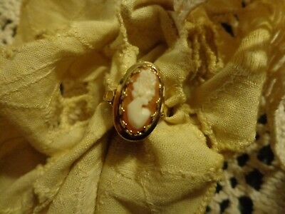 Designer D-D Sterling Silver 925 Antique Cameo Ring Sz 6