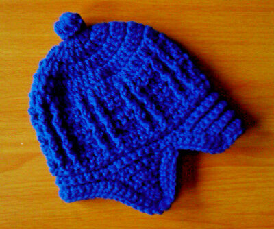 Handmade Hand Crocheted Baby Boy Cable Peaked Cap/Hat+earflaps Acrylic var.cols.
