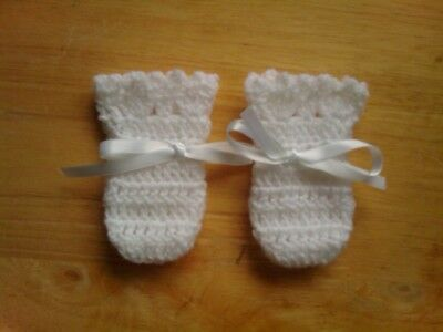 Handmade Hand Crocheted Baby Girl Picot Mittens  100% Acrylic various colours