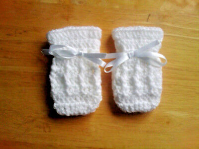 Handmade Hand Crocheted Baby Unisex Cable Mittens  100% Acrylic various colours