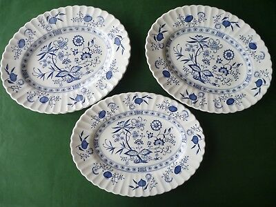"""J&G Meakin Classic White - Blue Nordic / Blue Onion - 3 Oval Plates 12.25 x 9.5"""""""