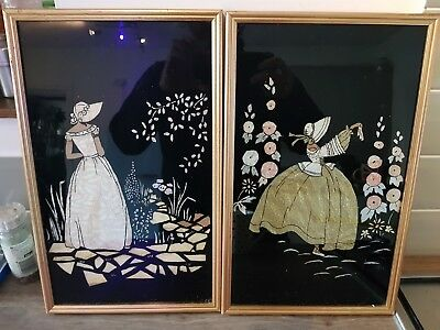 Pair of Stunning Chinese Mother Of Pearl Hanging Pictures