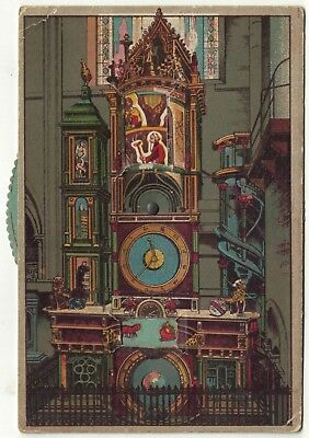 Vintage French Novelty Postcard Strasbourg Clock Wheel Moves Two Parts of Card