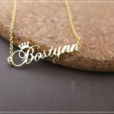 Necklace Crown Name Custom Personalized Stainless Steel Initial Letter Box Gift
