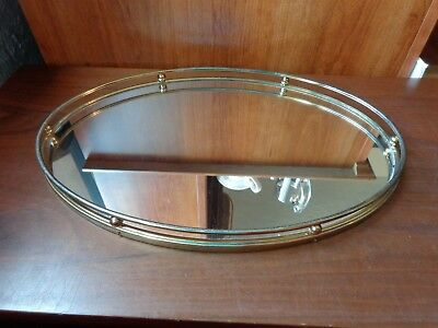 """Vintage dresser top 15"""" oval vanity mirror tray (cosmetics perfumes hairstyling)"""
