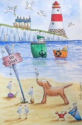Original Watercolour Painting by JULIA Seaside, Beach, Boat, Dog, Mouse, Crab