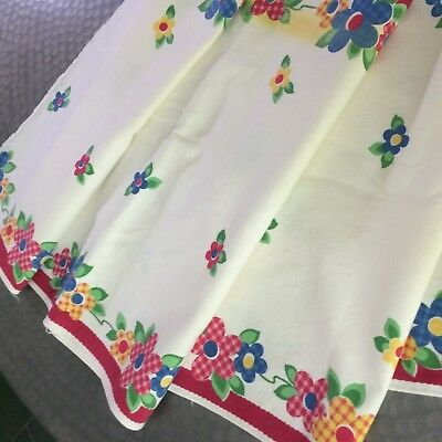 """Vtg table runner ivory cotton 50's printed flowers gingham 67x17"""" FARM COT CHIC"""