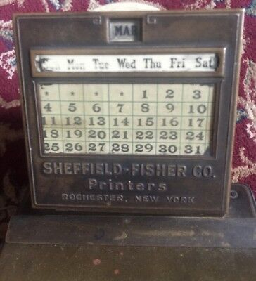 Antique Brass Perpetual Desk Calendar Sheffield Fisher Co. Rochester NY SALE