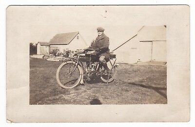 1900's RPPC INDIAN MOTORCYCLE RIDER FARM SCENE VINTAGE REAL PHOTO POSTCARD OLD !
