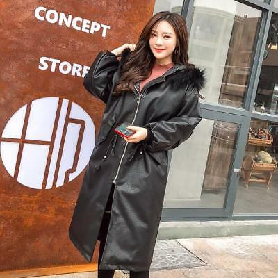 Womens Faux Leather Fur Hooded Thick Cotton Padded Coat Loose Jackets Overcoat V