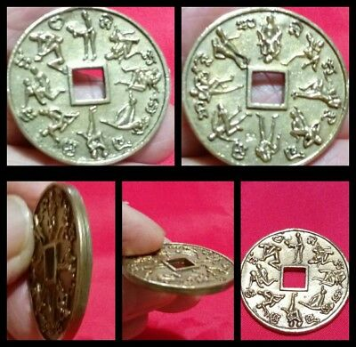 Silver Coin Kama Sutra Thai Amulet Token Surprise 16 Lovers & Sex F16-F