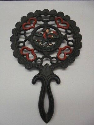 Cast Iron Dutch Boy Amish Trivet 1952, J.Z.H. Hearts #20 red green footed handle