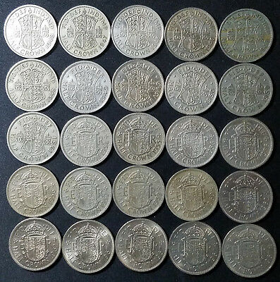 Lot Of 25 1947-1967 Great Britain English Uk 1/2 Half Crown Coins!
