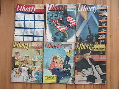 Lot Of 6 Liberty Magazine Ww11 1943, 1944 And The 1945