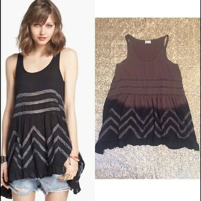 a8913ca103d51 NWT FREE PEOPLE Trapeze Slip VOILE Ombre Brown Black Polka Dot small ...