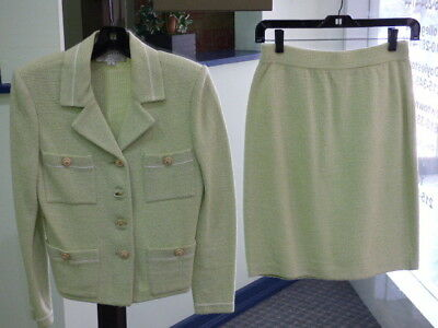St. John Collection By Marie Gray Women's White Green Blazer Skirt Suit Size 2