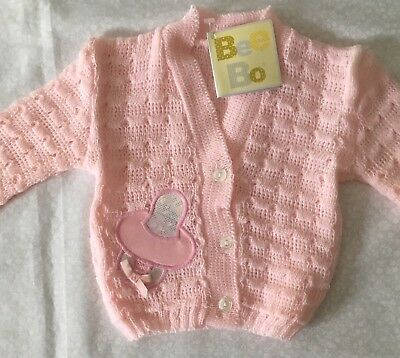 Romany Baby Pink Cardigan 0-3 Months Decorated With a Pink and Silver Dummy